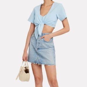 AGOLDE sz 28 raw hem ada denim mini jean skirt